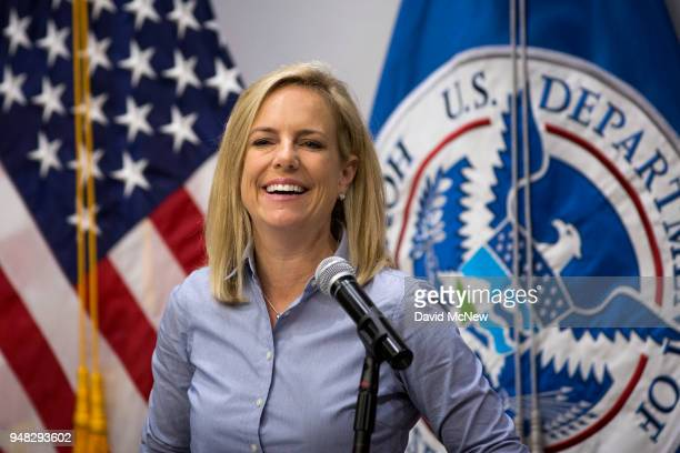 S Department of Homeland Security Secretary Kirstjen Nielsen addresses border agents before touring a replacement border fence construction site on...