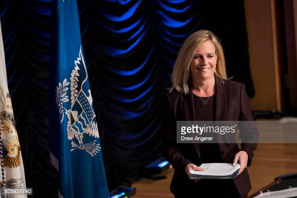 Department of Homeland Security Secretary Kirstjen Nielsen takes the stage to speak during an event to mark the 15th anniversary of the Department of...