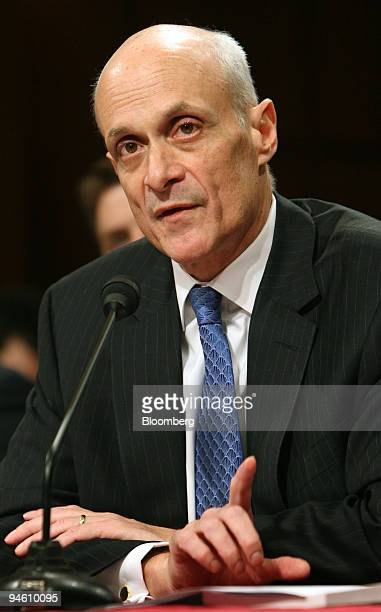 S Department of Homeland Security Secretary Michael Chertoff appears before the Senate Judiciary Committee to speak about immigration reforms on...
