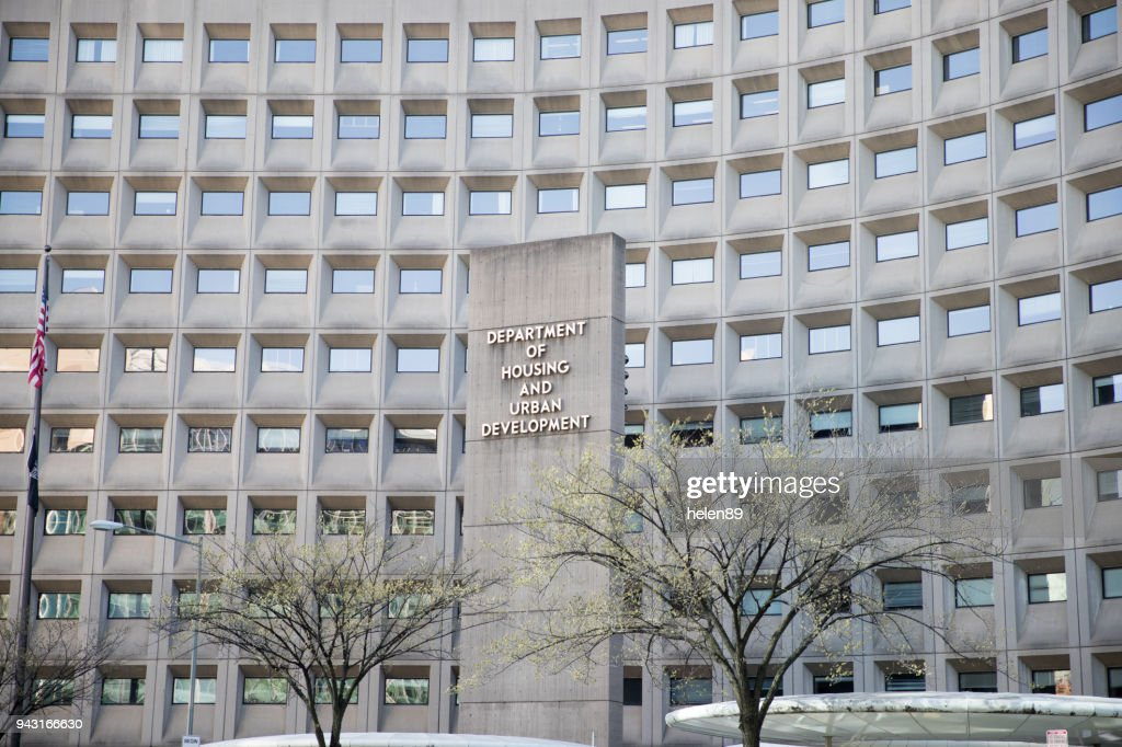 Department of Housing and Urban Development in downtown with closeup of sign and building windows : Stock Photo