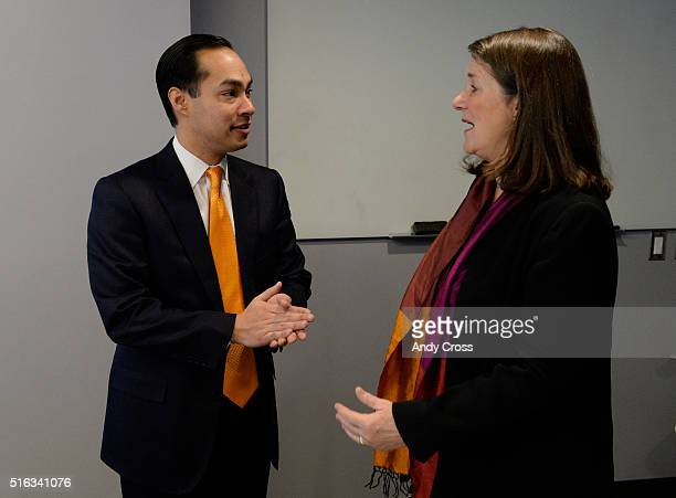 US Department of Housing and Urban Development Secretary Julian Castro talks with Colorado US Rep Diana DeGette at The Commons on Champa before a...
