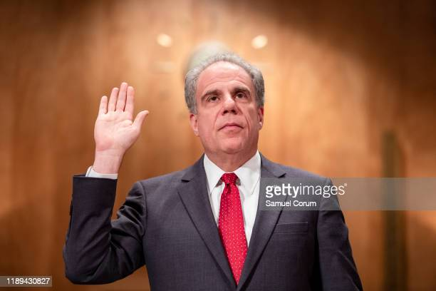 Department of Justice Inspector General Michael Horowitz is sworn in before the Senate Committee On Homeland Security And Governmental Affairs during...
