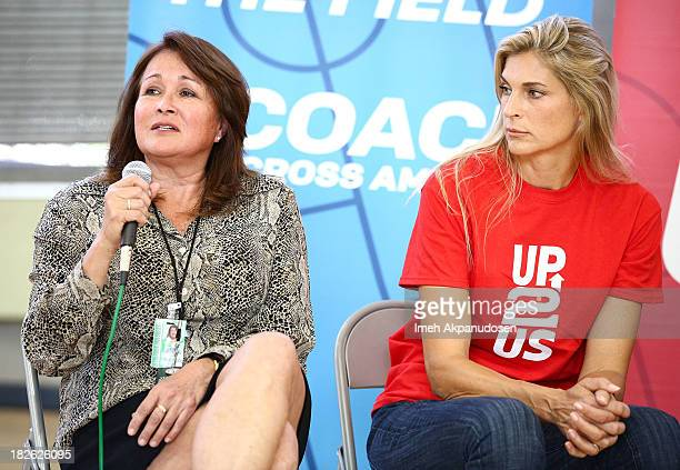 Department of Recreation and Parks East District Supervisor Veronica Rodriguez and professional volleyball player Gabrielle Reece attend 'Creating...