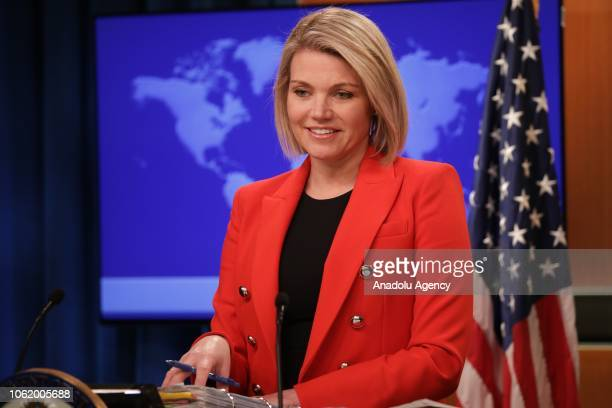 S Department of State Spokesperson Heather Nauert speaks during a press conference in Washington United States on November 15 2018