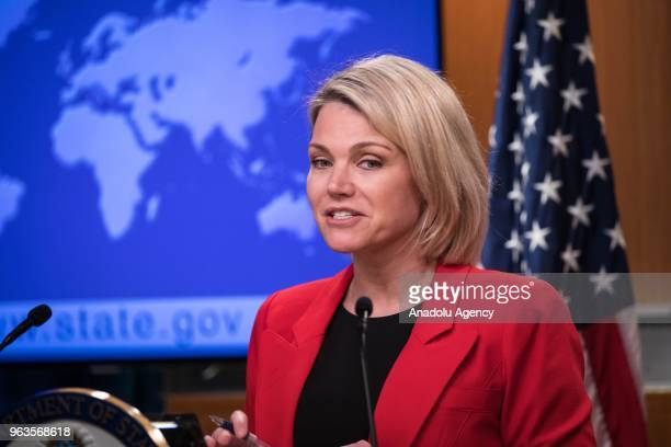 S Department of State Spokesperson Heather Nauert speaks during a press conference in Washington United States on May 29 2018