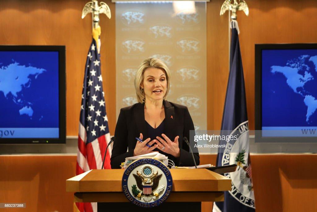 Spokesperson Heather Nauert Holds State Department Press Briefing : News Photo