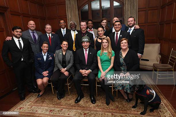 Department of Veteran Affairs Secretary Bob McDonald poses with veteran leaders at the 9th Annual IAVA Heroes Gala at the Cipriani 42nd Street on...
