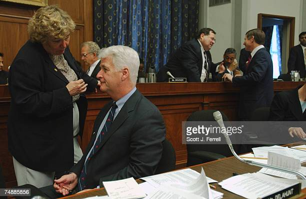 DEPARTMENTZoe Lofgren DCalif and Bill Delahunt DMass talk as they wait for the arrival of Homeland Security Director Tom Ridge for a House Judiciary...