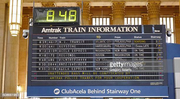 Departure and arrival board at Amtrak's 30th Street Station in Philadelphia Pennsylvania