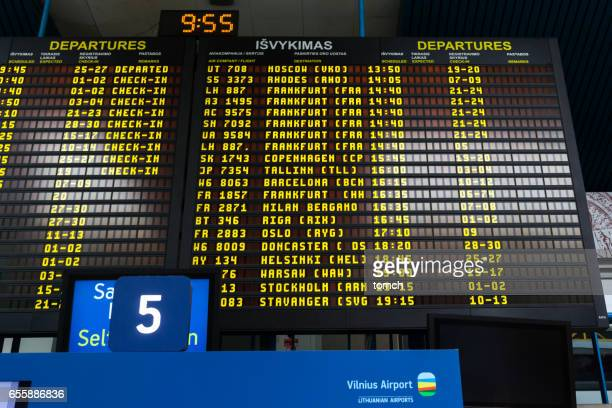 Departure and arrival schedule in Vilnius Airport, Lithuania