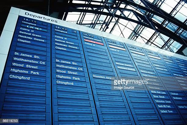 Departure board at Liverpool Street station London