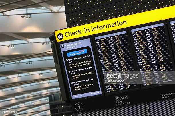 A departure board in the new Terminal 5 at Heathrow Airport prior to its official opening on March 14 2008 in London England