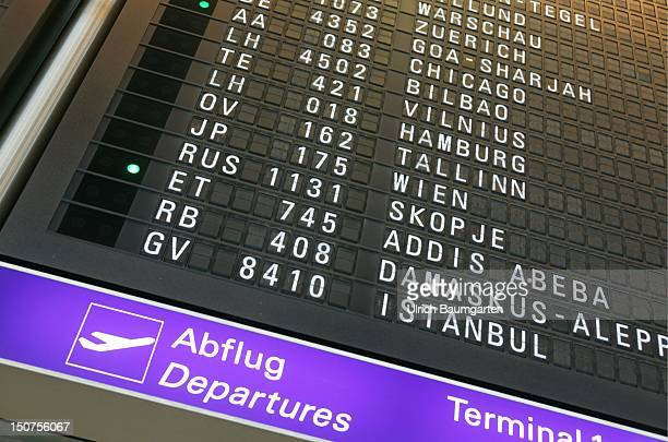 Departure board in the RheinMain airport Frankfurt