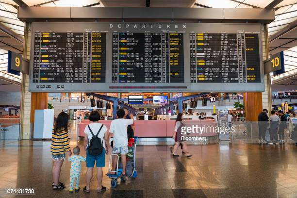 A departure board stands at Terminal 2 of Changi Airport in Singapore on Thursday Dec 13 2018 Singapore'sChangiAirport votedtheworld's bestfor...