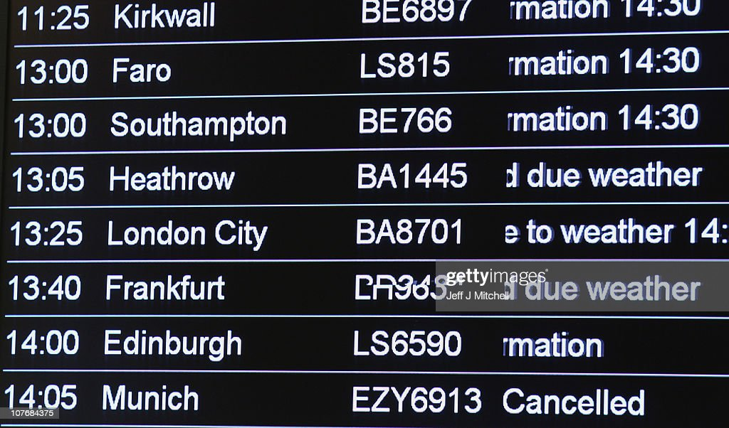 Departure boards show the disruption due to snow facing passengers at Edinburgh Airport on December 19, 2010 in Edinburgh, Scotland. The United Kingdom is continuing to suffer heavy snowfall causing delays at many airports and closure of major roads.