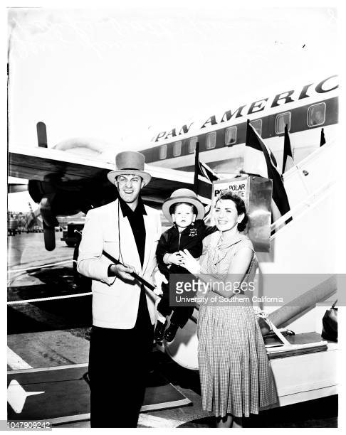Departure for London, 16 April 1958. Mr and Mrs Jerry Lewis.;Supplemental material reads: 'From news bureau. Pan American World Airways. Off to...