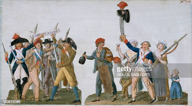 Departure for the front to the cry of Freedom or death gouache by JeanBaptiste Lesueur French Revolution France 18th century