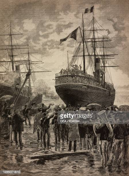 Departure from Naples of the ship Roma with the Bersaglieri Battalion Italy Eritrean War engraving by G Gamberoni from a drawing by Edoardo Matania...
