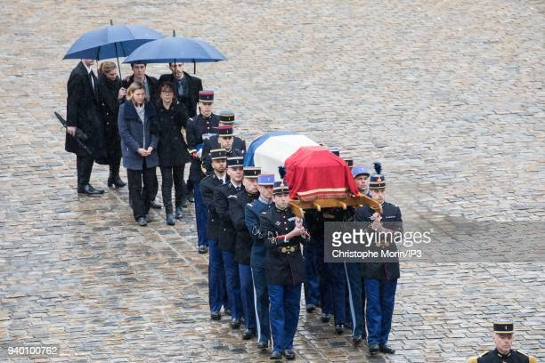 Departure from the coffin at the end of the ceremony in the presence of Marielle Beltrame her wife and her mother Nicolle Beltrame during the...