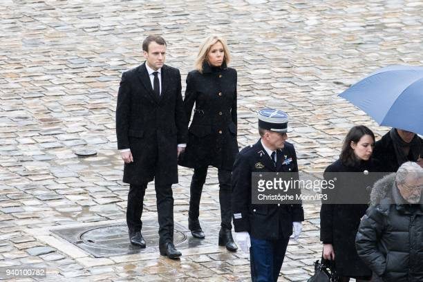 Departure from the coffin at the end of the ceremony in the presence at the end of the cortege of the President of the Republic Emmanuel Macron and...