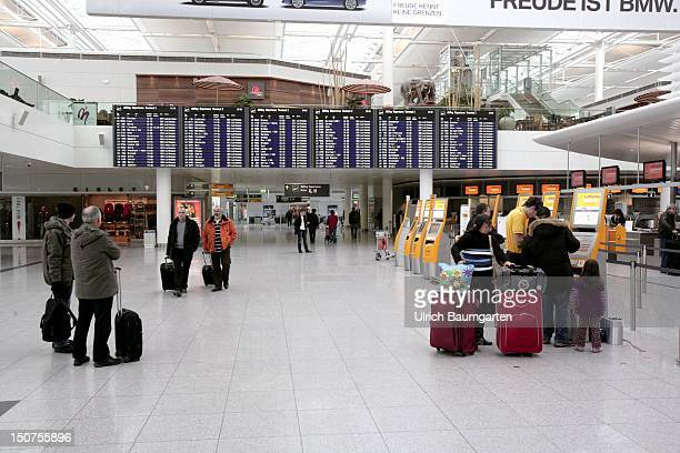 GERMANY MUNICH Departure hall terminal 2 of the Franz Josef Strauss airport with checkin machines in Munich MuenchenErding
