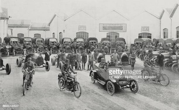Departure of a Bianchi truck convoy Italy World War I from L'Illustrazione Italiana Year XLII No 40 October 3 1915