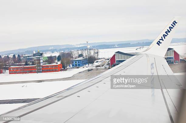 Departure of a RyanAir flight to Alicante Spain in winter times at Allgaeu Airport on February 18 2012 in Memmingen Germany