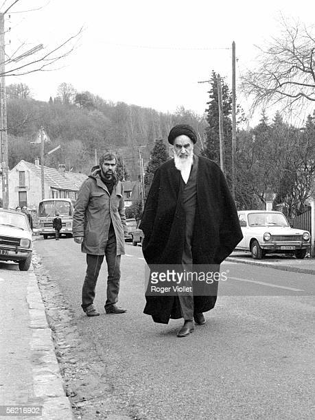 Departure of Ayatollah Khomeyni Iranian spiritual chief in exile from NeauphleleChateau to Iran January 3 1979