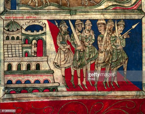 Departure of Charlemagne from Aquisgran to Santiago de Compostela Calixtinus Codex XII Century or Liber Sancti Jacobi Detail Folio 162v Archive of...