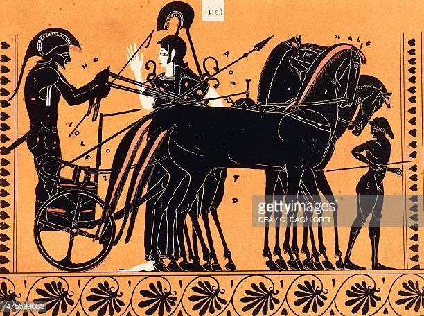 Departure of Iolaus in a chariot assisted by Athena to attend the games held in honor of Pelias illustration from Choix de vases peints du Musee...