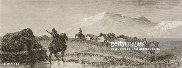 Departure of the caravan drawing by Valentin Foulquier from the author's album from Travels in the Icelandic interior by Natale Nogaret from Il Giro...