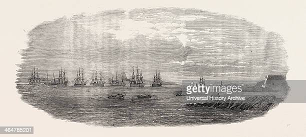 Departure Of The Ocean French Fleet From Brest France 1854 Hercule Towed By Caffarelli 450 Horse Power Jeanbart 650 Horse Power Towed Out Later In...