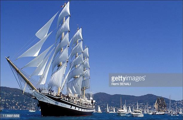 Departure of the regatta Colomb 92 In Genoa Italy On April 19 1992Pallada Amerigo Vespucci