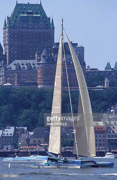 Departure of the Transatlantic Sailing Race QuebecSaint Malo In Quebec Canada On August 23 1992 Pierre 1er of Florence Arthaud