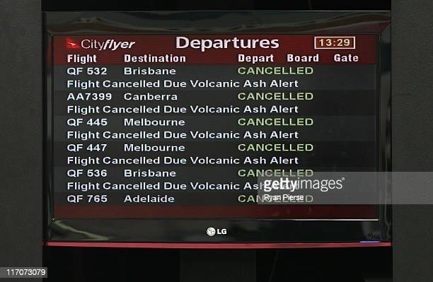 A departure screen is seen airlines cancel flights due to volcanic ash at Sydney Domestic Airport on June 21 2011 in Sydney Australia Air travel...