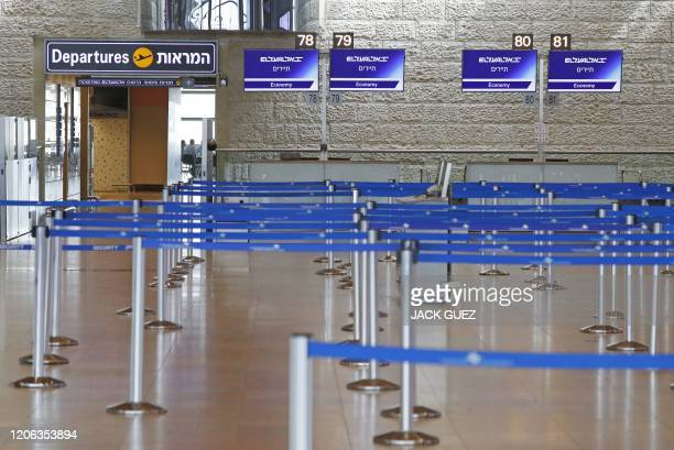 Departure terminal is empty at Ben Gurion International Airport near Tel Aviv, on March 10, 2020 amid major restrictions on travellers from several...