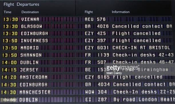 Departures are displayed in the departures hall after numerous airlines refused to land or take off after safety fears at Bristol International...