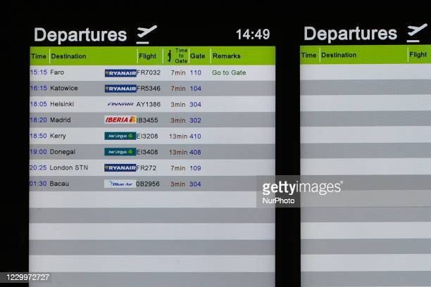 Departures board affiches only eight departures from the Terminal 1 in Dublin Airport, during the coronavirus lockdown level 3. The pandemic has had...