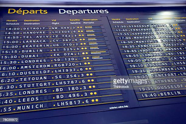 Departures board in airport, Paris