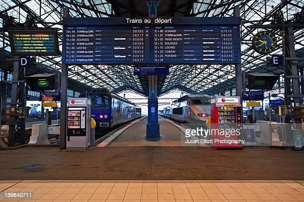 Departures board, Tours train station, France.