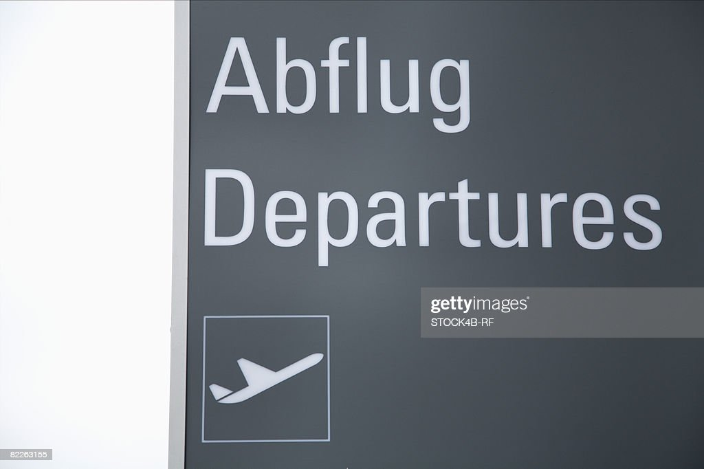 Departures sign at airport : Stock Photo
