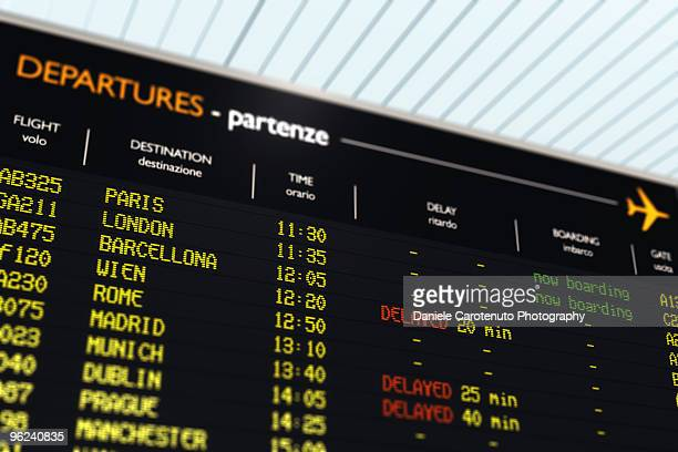 Departures time table at the airport