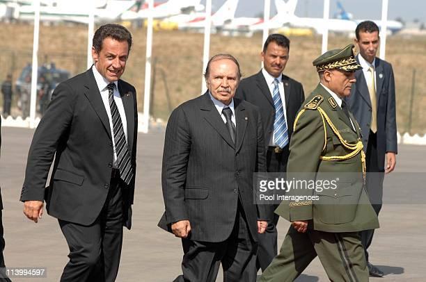 Depature of Nicolas Sarkozy In Algiers Algeria On July 10 2007French President Nicolas Sarkozy and Algeria President Abdelazziz Bouteflika attend a...