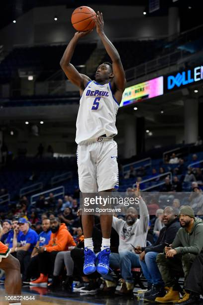DePaul Blue Demons guard Jalen ColemanLands shoots a three pointer against the Florida AM Rattlers on December 3 2018 at the Wintrust Arena in...