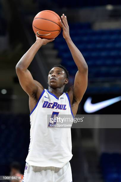 DePaul Blue Demons guard Jalen ColemanLands shoots the ball against the Florida AM Rattlers on December 3 2018 at the Wintrust Arena in Chicago...