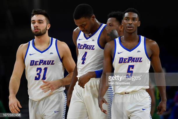 DePaul Blue Demons guard Max Strus DePaul Blue Demons forward Paul Reed and DePaul Blue Demons guard Jalen ColemanLands during the game against the...
