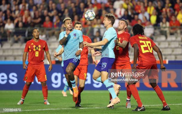 Depay Memphis Luuk de Jong and Toby Alderweireld fight for the ball during the International Friendly match between Belgium and The Netherlands on...
