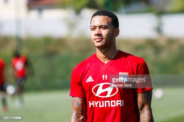 Depay Memphis of Lyon during the Training Session and Presentation New Player of Lyon on August 22 2018 in Lyon France