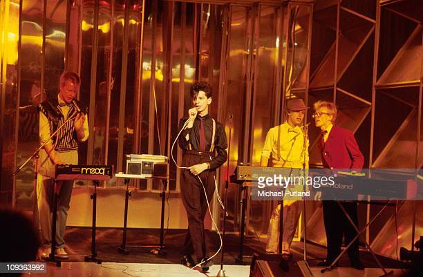 Depeche Mode appear on Top The Pops TV show L-R Andrew Fletcher, Dave Gahan, Martin Gore, Vince Clarke. They play Roland, Moog and Yamaha...