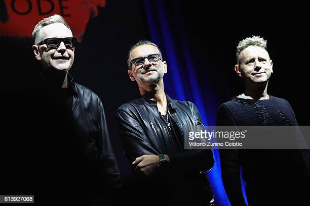 Depeche Mode attend a photocall to launch the Global Spirit Tour on October 11 2016 in Milan Italy